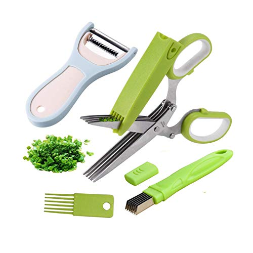 Herb Scissors - Multipurpose Kitchen Cutting Shears with 5 Stainless Steel Blades, Safety Cover, Cleaning Comb, Green Onion Cutter and Vegetable Peeler Kitchen Gadgets Tools