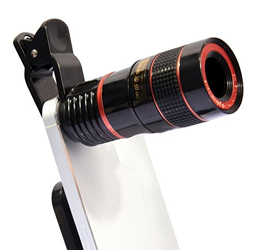 PLLP Mobile Phone Camera Telescope 8 Times Mobile Telescope Black and White Orange Circle Mobile Phone External Lens,Black by PLLP