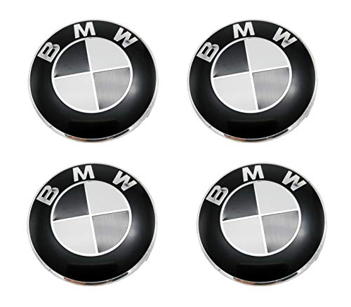 LHFACC Wheel Center Hub Cap Cover Emblem Badge Black and White Sets of 4 for BMW E36 E38 E39 E46 E53 E60 E61 E63 E64 E65 E66 E70 E71 E72 E82 E83 E85 E86 E88 E89 E90 E91 E92 E93 F01 F02 F07 ()