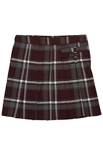 Skirt School Apparel Plaid (French Toast Big Girls' Plaid Pleated Scooter, Burgundy, 8)