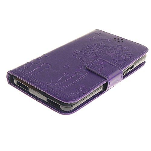 XiaoXiMi Funda Lenovo Vibe X3 Lite/Lenovo A7010 Carcasa Diente de león en relieve Patrón Funda Protectora Carcasa Cartera de PU Cuero Flip Wallet Case Cover Bumper Funda Cartuchera Carcasa Blanda Suav Púrpura