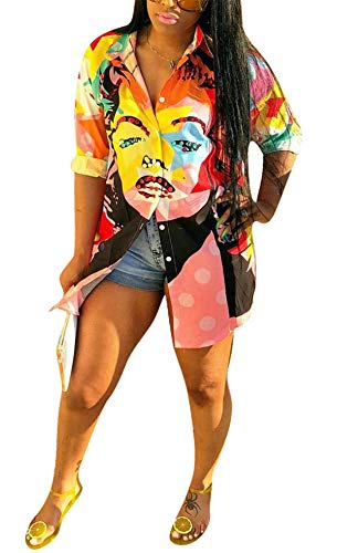 - Women's Summer Autumn ins Fashion Oversized Long Sleeve Deep V-Neck Multicolor Graffiti Printed Button Down Loose Basic OL Tops Polo Shirts Blouse Split Party Club Dress S
