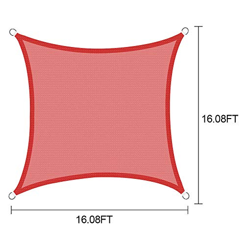 KM Mart Awning Top Cover Outdoor Canopy Patio 16 Inch Sun Shade Sail UV Block Lawn Pool Keep Cool for Deck Patio Pergola Backyard Triangle Square 16ft x 16ft Red (Square) (Backyard Detached Decks)