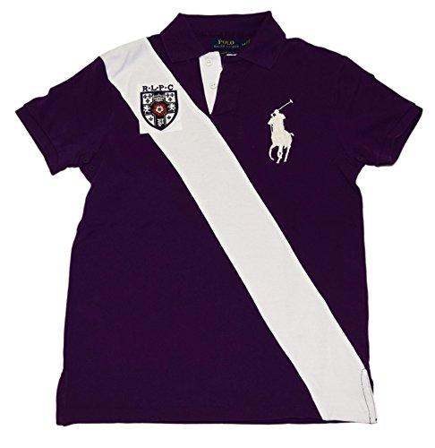 Custom Fit Stripe Polo - Ralph Lauren Polo Mens Custom Fit Big Pony Rugby Stripe Shirt Purple White Small