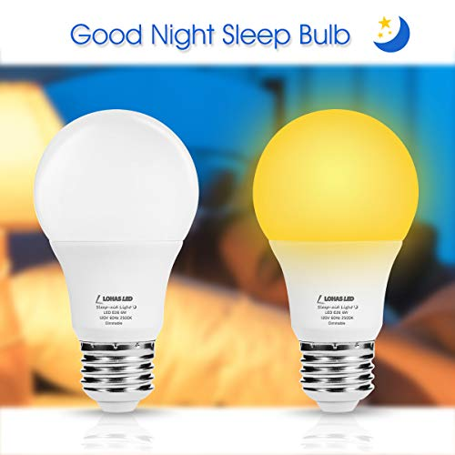 LOHAS Sleep Aid Light Bulbs, A19 LED Yellow No Blue Night Light Bulb, 6Watt Dimmable Good Night Bulb, Warm 2500K 40W Equivalent E26 120V Baby Night Light Lamps, for Bedroom, Nursery, Restroom 2Pack
