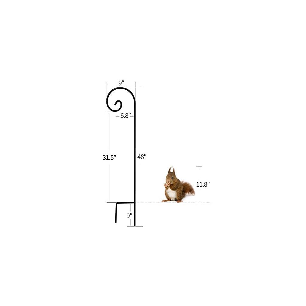 Shepherd-Hook-35-Inch-2-Pack-Hummingbird-Bird-Feeder-Pole-Garden-Outdoor-Hanging-Plants-Basket-Hanger-Pathway-Light-Solar-Lantern-Mason-Jar-Wind-Chimes-Wedding-Black-Metal-Rust-Resistant-Heavy-Duty