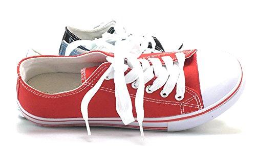 Sneakers Casual In Tela Da Donna Torna A Scuola Sneakers Stringate Eleganti In Tela Color Rosso