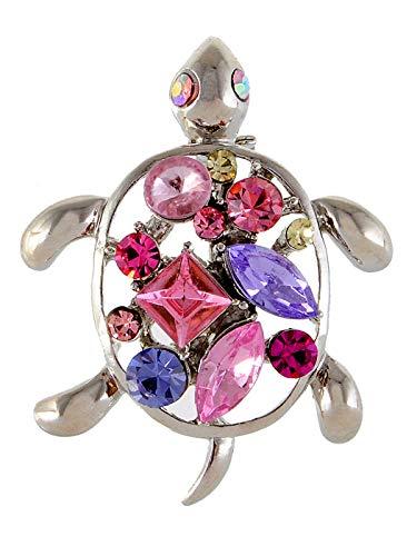 New Petite Silver Amethyst Crystal Rhinestone Opal Sea Turtle Fashion Pin Brooch (Color - Pink)