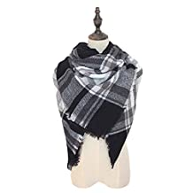 Spring fever Cozy Plaid Long Winter Shawl Lattice Oversized Blanket Scarf Wrap