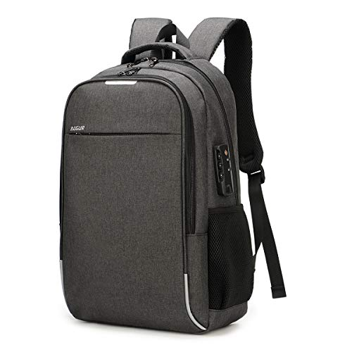 AUGUR Business Laptop Backpack, Anti Theft Slim Travel Computer Backpack with USB Charging Port, Water Resistant Luminous College Laptop Bag Fits 15.6 Inch Laptop and Notebook, Charcoal Grey