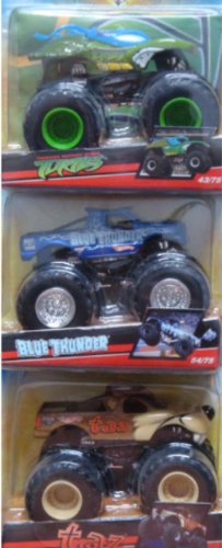 不均一加入落胆させるDiecast Monster Jam: Taz, Mutant Ninja Turtles, Blue Thunder 1:55 Scale