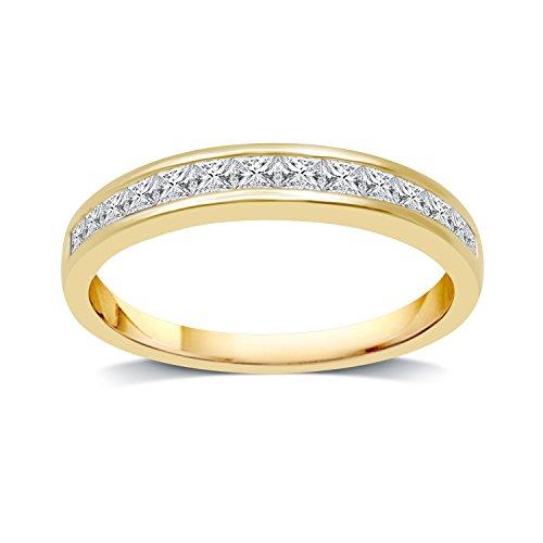 DeCarat 1/2 CT.T.W. Diamond 10K Yellow Gold Princess Wedding Band Ct Tw Princess Diamonds Band
