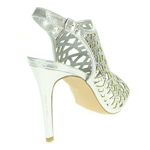 Mujer Señoras Corte con laser Moda Correa de tobillo Peep Toe Boda Nupcial Noche Fiesta Paseo Tacón alto Sandalias Zapatos Tamaño Plata