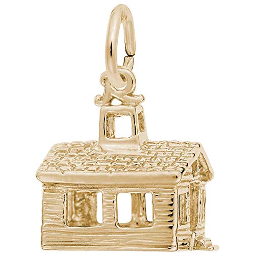 Rembrandt Gold Plated Charms - Rembrandt Charms School House Charm, Gold Plated Silver