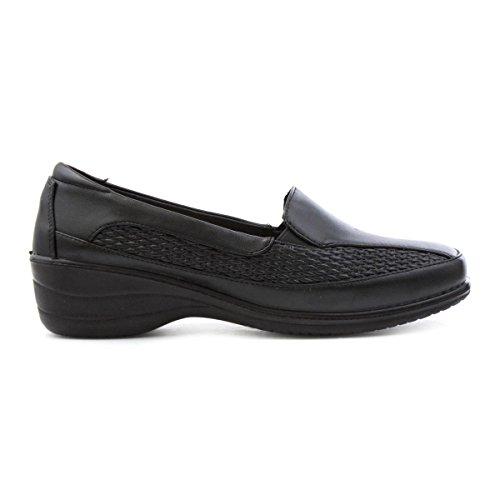 Caminata Amortiguada Mujer Negro Informal Mocasín zapato Negro