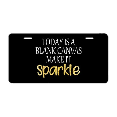 Tobe Yours Today is A Blank Canvas,Make It Sparkle,Funny Sassy Christmas Statement Gift for She Men Boss Friend Auto Front Tag Metal License Plate Cover Frame for Car 6