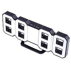 perfeo 3D LED Digital Wall Alarm Clock, Multi-Function Digital Alarm Clock with Snooze Function, 12/24 Hour Display, Three Adjustable Brightness (Black, White)