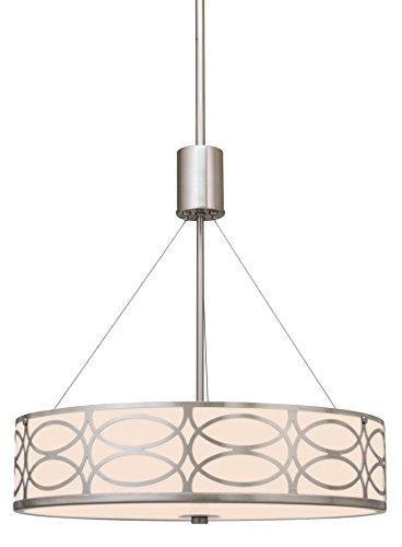 Revel Sienna 18 3 Light Metal Drum Chandelier Glass Diffuser Brushed Nickel Finish