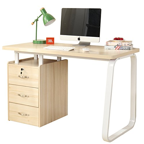 Writing Cabinet (Dland Home Office Computer Desk with Built-in File Cabinet 3 Drawers WK164, Composite Wood Board with Metal Frame, Maple, 47