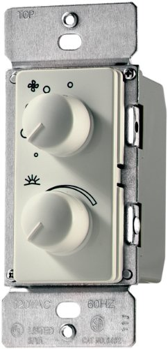 Eaton RDC15-A-K 1.5-Amp Single-Pole Combination Quiet 3-Speed Fan Control and 300-Watt Dimmer, Almond (Control 3 Fan Speed Dial)