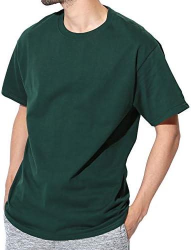 Authentic ベーシックTシャツ メンズ 半袖 コットン 無地 XL ダークグリーン