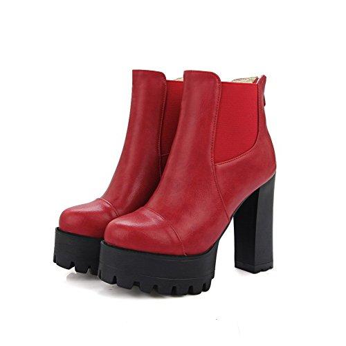 AllhqFashion Mujeres Puntera Redonda Cremallera Posterior Caña Baja Sólido Tacón ancho Botas Rojo