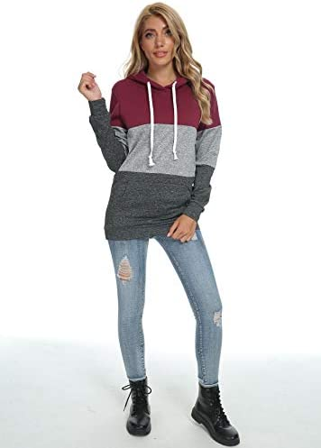 Barlver Women's Casual Hoodies Long Sleeve Sweatshirts Cowl Neck Drawstring Hooded Pullover Top with Pockets