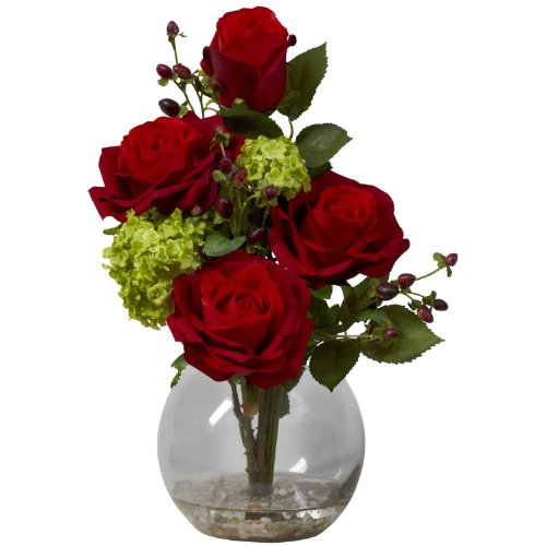 Nearly Natural 1284 Rose and Hydrangea Silk Flower Arrangement, Red Red Floral Arrangement