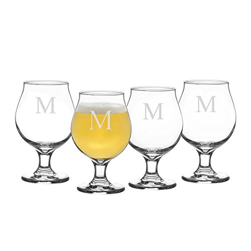 (Cathy's Concepts Personalized Belgian Beer Glasses, Set of 4, Letter M)