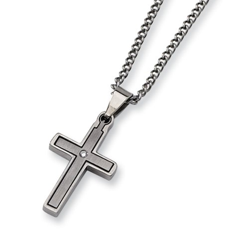 Diamond Titanium Necklace (Titanium & .035 Ct (G-I, I1) Diamond Accent Dbl Cross 22 Inch Necklace)