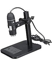 Milageto 1600X 8LED Aleación USB Microscopio digital Lupa de cámara con de 5 segmentos 24 bits