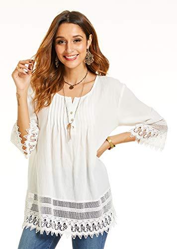 - SONJA BETRO Women's Woven Cotton Pintuck Detail Lace Trim Tunic Plus Size X-Large