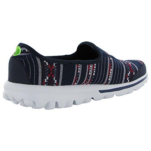 Skechers Dames Gaan Lopen Baja 13754 Slip-on Sneaker Schoen Marine / Rood