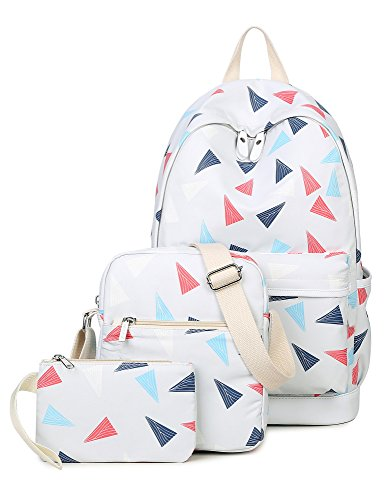 Backpack for girls, Cute Triangles Laptop Backpack College Bags Daypack Shoulder Bag Pencil Case Set by Leaper (Light Gray)