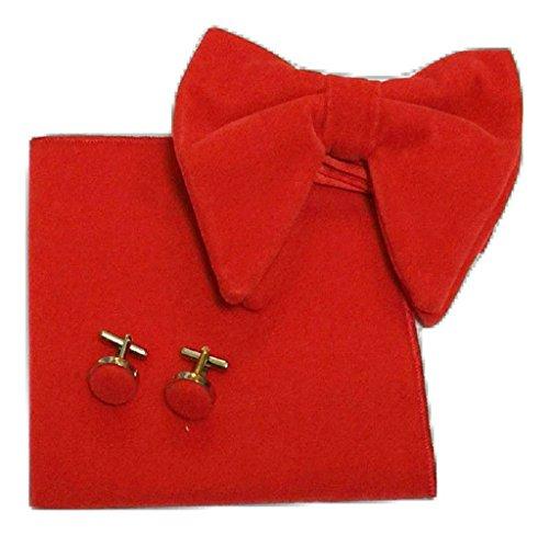 UK Bow amp;L® Men's L orange Red Tie Set Square Pocket Hanky Oversized links Velvet Cuff SIS7gndqp