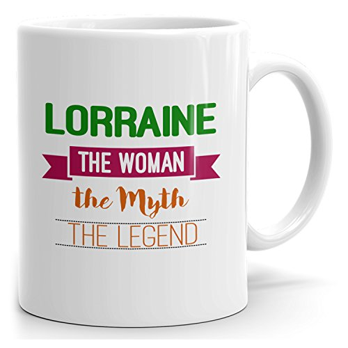 Mug for Lorraine - The Woman The Myth The Legend - 15oz White Mug - Green