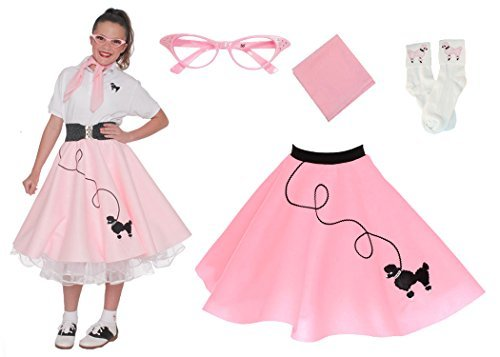 [Hip Hop 50s Shop 4 Piece Child Poodle Skirt Costume Set, Size Medium Light Pink] (Group Grease Halloween Costumes)