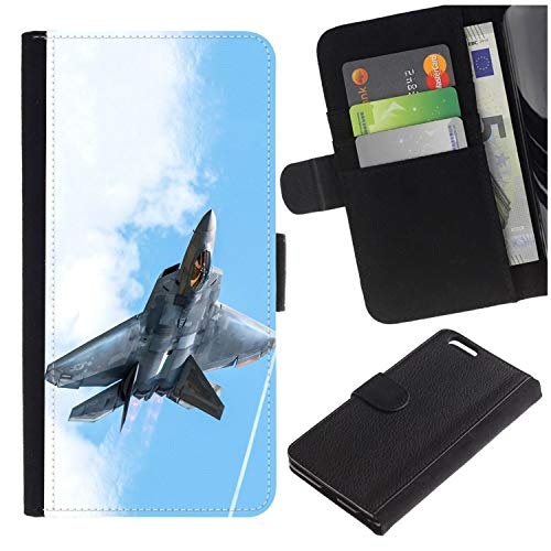 [USAF Air Force F-22 Raptor Stealth Jet Aircraft] for Apple iPhone 7 / iPhone 8 (4.7 inches), Flip Leather Wallet Holsters Pouch Skin Case]()