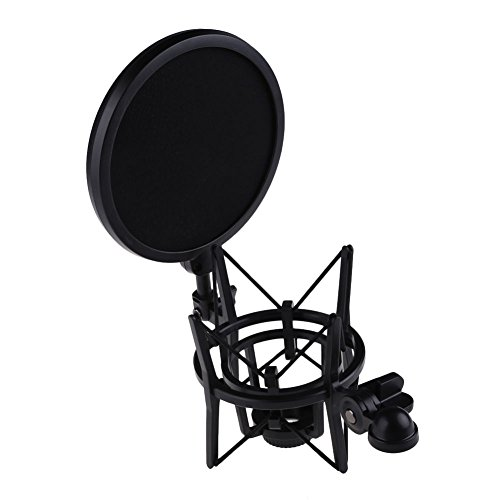 - WALLER PAA Professional Microphone W Shock Mount Stand Holder With Pop Shield Filter Screen