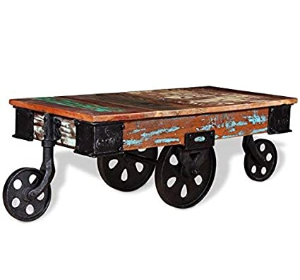 Remarkable Amazon Com Industrial Coffee Table Vintage Cart Furniture Interior Design Ideas Tzicisoteloinfo