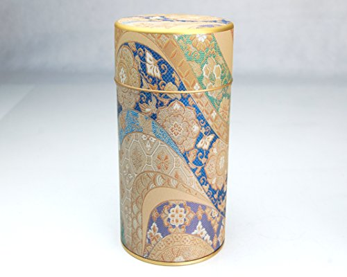 Ryu Mei Mizunishiki Japanese Green Tea Metal Tin [ Blue ] - Japanese Tea Canister