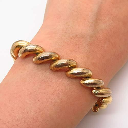 925 Sterling Silver Gold Plated San Marco Macaroni Link Bracelet 6 3/4