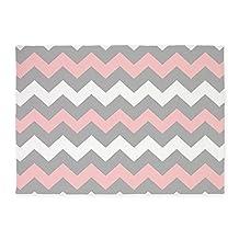 CafePress - Pink And Gray Chevron Stripes 5'x7'Area Rug - Decorative Area Rug, 5'x7' Throw Rug