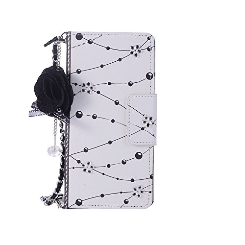 Gostyle Samsung Galaxy Note 8 Leather Wallet Case,Fashionable Women Handbag Case with Chian,Luxury Crystal Flower Pattern PU Flip Magnetic Case with Credit Card Holder and Wristlet Strap.