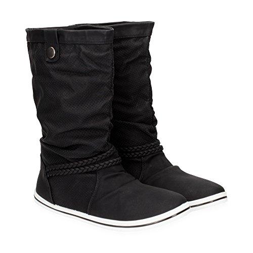 Damen Schlupf Stiefel mit Schnalle | Stiefeletten im bequemen und angesagten Design | Freizeit Boots Schuhe | Gr. 36 bis 41 | Japanolo | Schwarz EU 40