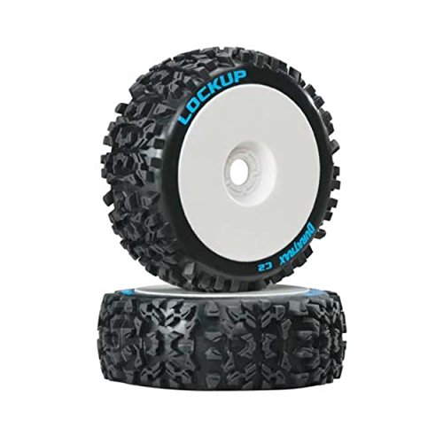 Duratrax Lockup 1:8 Scale RC Buggy Tires with Foam Inserts, C2 Soft Compound, Mounted on White Wheels (Set of 2) (Wheels Car 8 1 Rc)