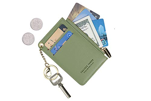 Small Wallets for Women Slim Leather Card Case Holder Wallet Coin Change Purse with Keychain (Green)