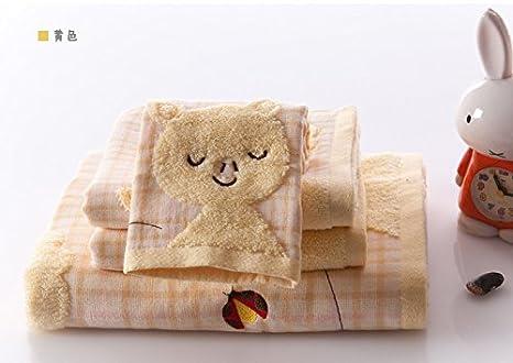 Marca toallas de algodón niños juego para toalla de baño de color azul + toalla de