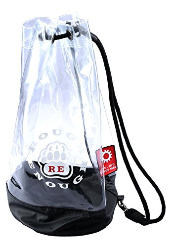 Rough Enough ECO Clear Transparent TPU Large Drawstring Bucket Bag String Shoulder Sackpack Sport Rusksack Duffle Sailor Sea Beach Sack Sporting Events Stadium Approved for Kids Boys Girls Outdoor ()