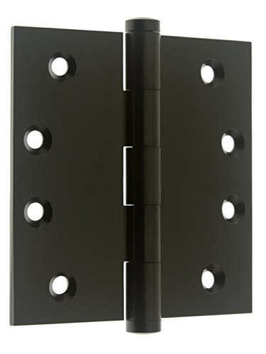 idh by St. Simons 84040-019 Professional Grade Quality Genuine Solid Brass 4 inch x 4 inch Full Mortise Door Hinges (Pair), Matte Black